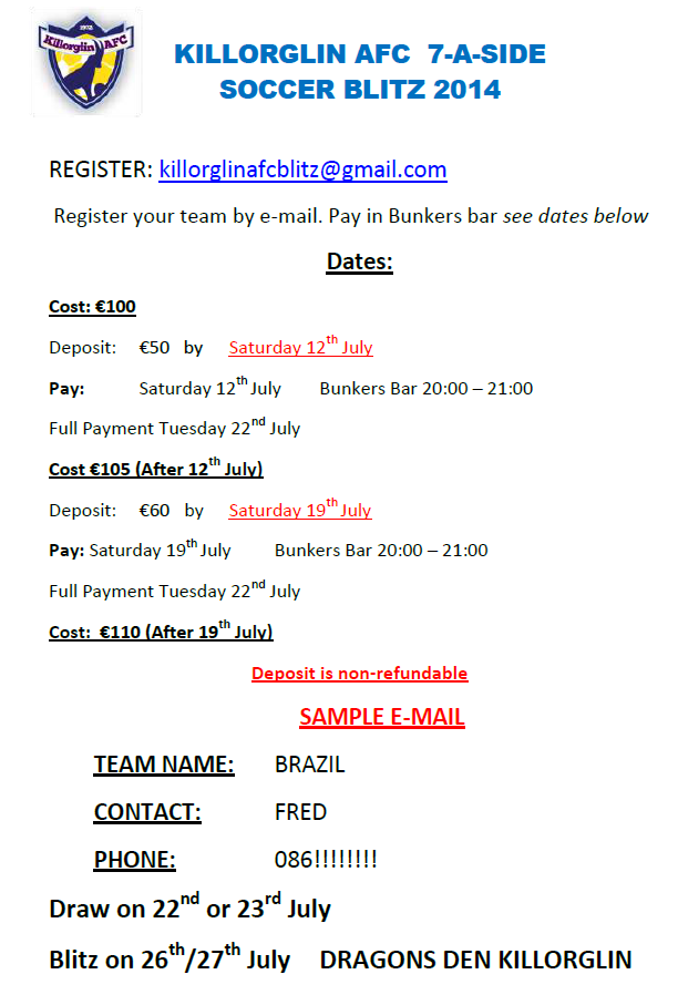 Killorglin AFC 7-A-Side Blitz 2014